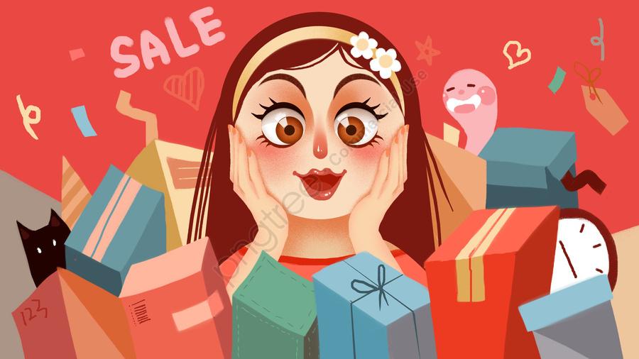 Double Eleven Shopping Spree Illustration, Shopping, Double Eleven, Illustration llustration image