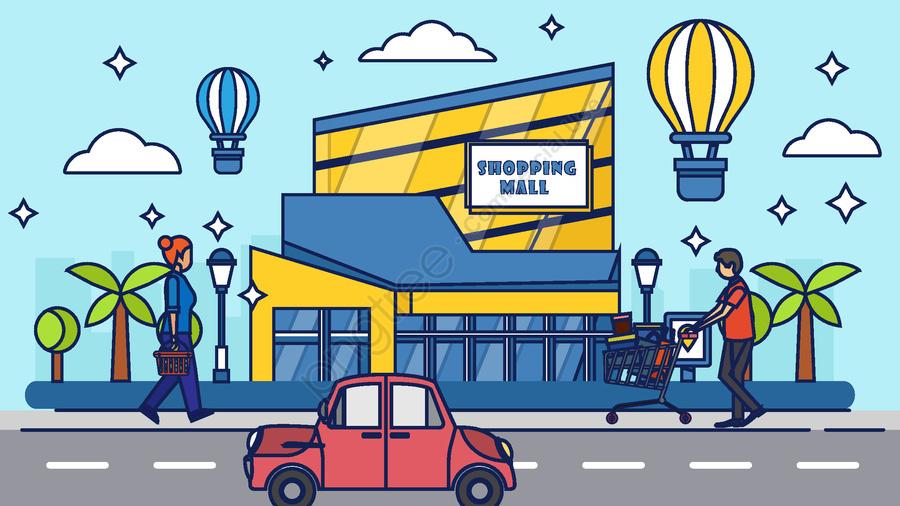 쇼핑 만화 벡터 일러스트 레이션, 쇼핑, 슈퍼마켓, 만화 llustration image