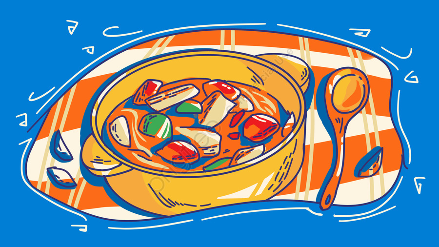 Meatball Hu Spicy Soup Food City Line Draft Stroke Contrast Color Hand Painted Illustration, Sichuan, Food, City llustration image