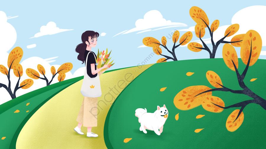 シングルスティック犬の散歩犬屋外イラスト, 一本棒まつり, 一人暮らし, シングル llustration image