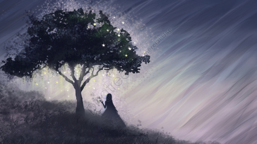 Sleeping fairyland glowing tree, Sleepwalking, Wonderland, Cure llustration image
