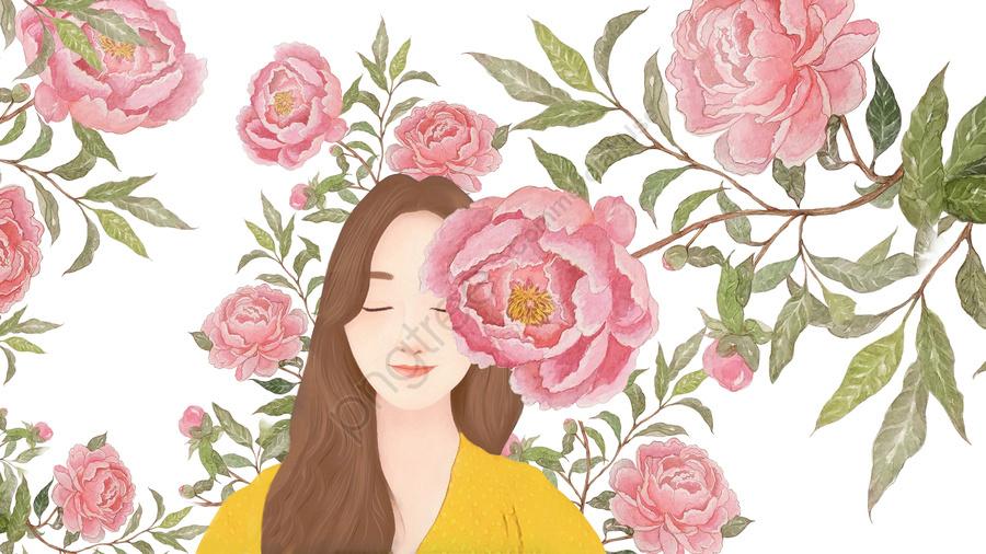オリジナルの手描きの小さな生花美しいイラストの女の子おはようこんにちは, 小さい新鮮な, 美しい, ピンク llustration image