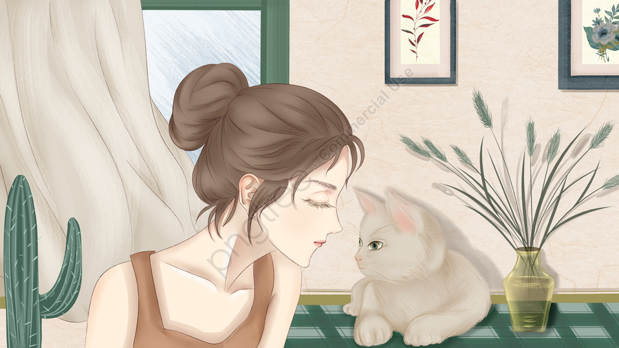Little Fresh Girl And Cat Cute Pet Illustration, Small Fresh, Cute Pet, Cat llustration image