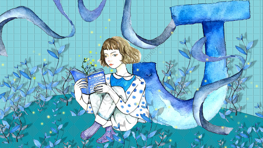 Little fresh cure letter 邂逅 firefly blue reading book girl, Small Fresh, Healing, Letter 邂逅 llustration image