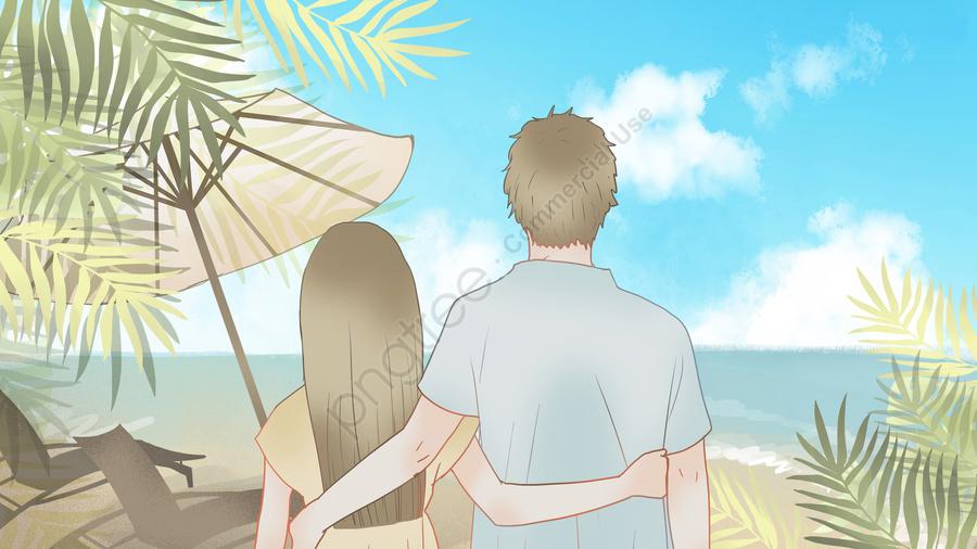 Little Fresh Couple Everyday On The Beach, Small Fresh, Illustration, Couple llustration image