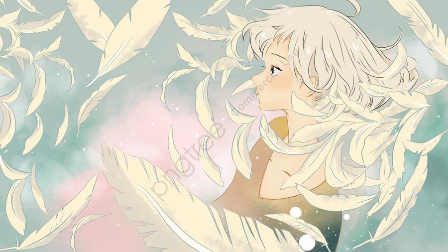 1月こんにちは小さな新鮮な羽毛の女の子, 小さい新鮮な, イラスト, 1月 llustration image