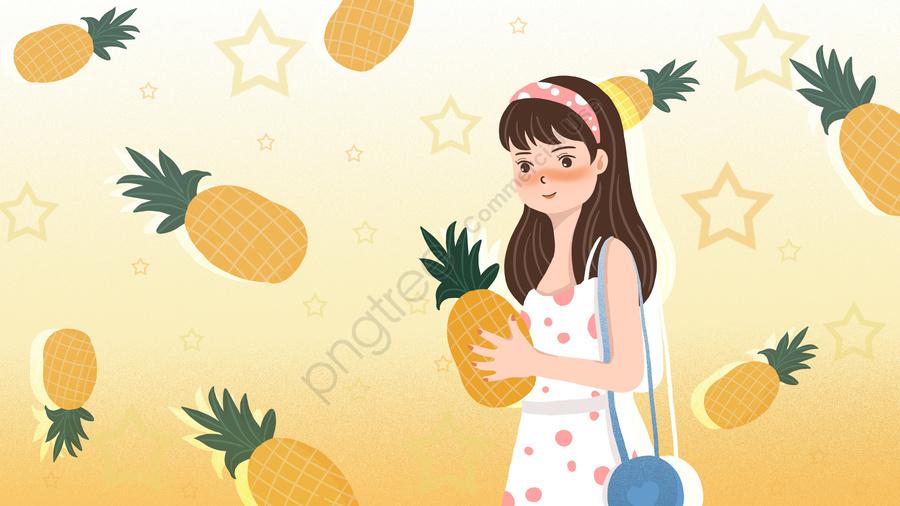 हैलो गुड मॉर्निंग अनानास लड़की, छोटा ताजा, सुंदर, कार्टून llustration image