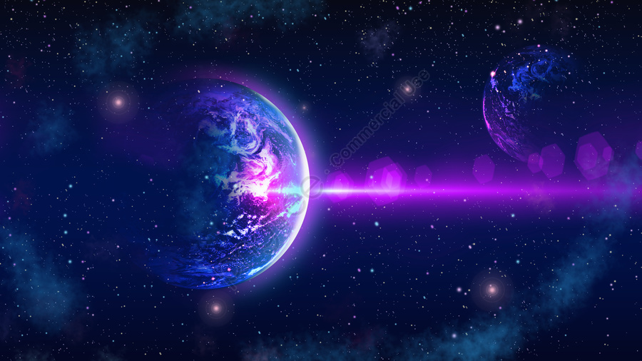 Starry glamour dream earth beautiful purple blue gradient background poster, 星空, 太空, 地球 llustration image