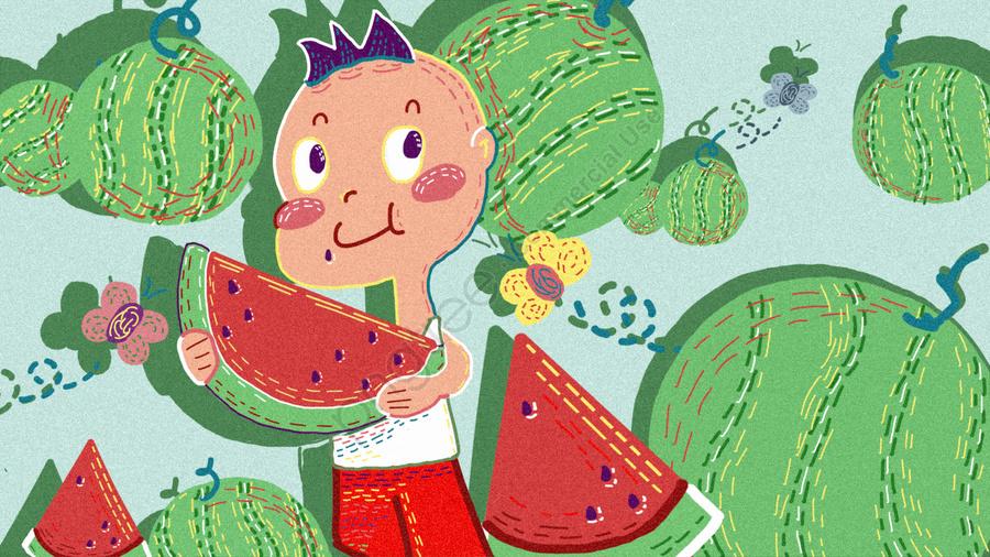 Retro Texture Watermelon Boy, Summer, Boy, Watermelon llustration image