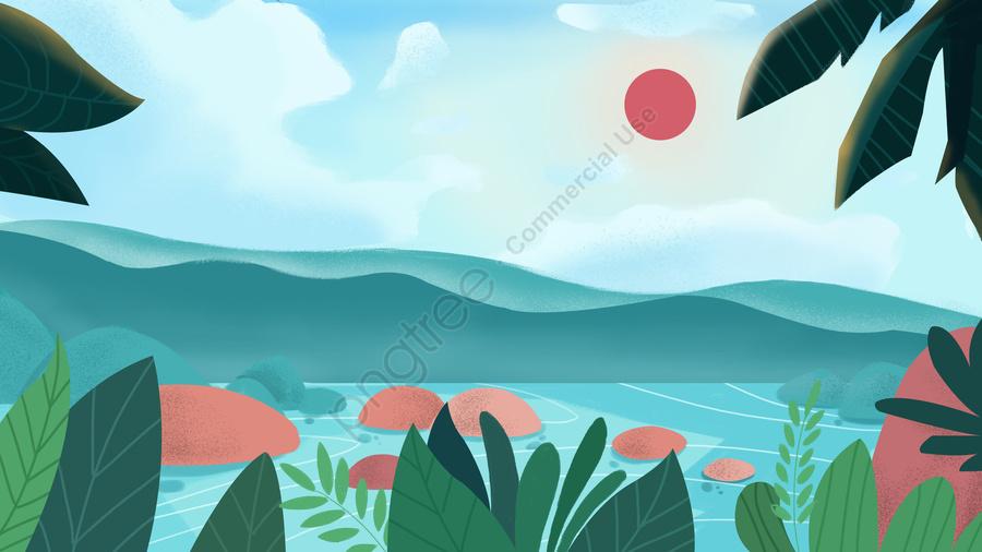 간단한 신선한 푸른 태양 서핑 일러스트 레이션, 여름, 여름 더위, 웨이브 llustration image