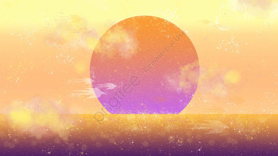 Neon skyline sunrise textured nebula, Sunrise, Sea, Ocean llustration image