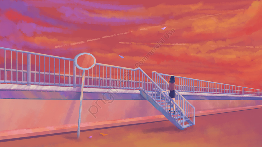 Sunset glow over the sky, Sunset, Sunset Glow, Looking At The Sky llustration image
