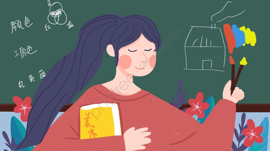 Día Del Maestro Profesor De Arte Pintura Femenina Cepillo Clase Viento Plano Ilustración, Dia Del Maestro, Profesora De Arte, Mujer llustration image