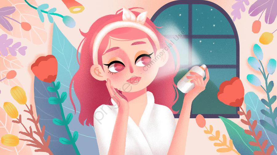 Girls Skin Care Daily Small Fresh Illustration, Teenage Girl, Skin Care, Make Up llustration image