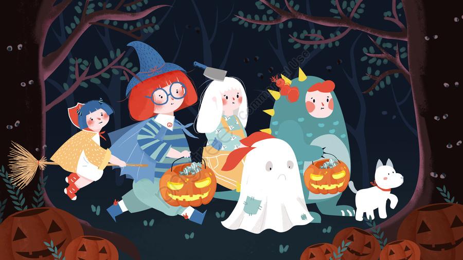 Halloween Late Night Horror Jungle Adventure Creative Illustration, Terror Jungle, Ghost Child, Halloween Cos llustration image