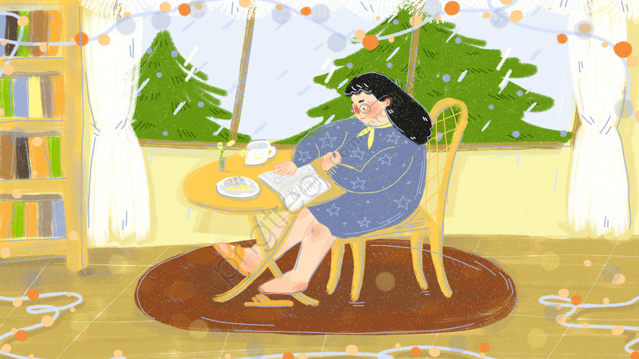 A Persons Life Is Comfortable To Read On Rainy Day, The Life Of One Person, Comfortable, Read llustration image
