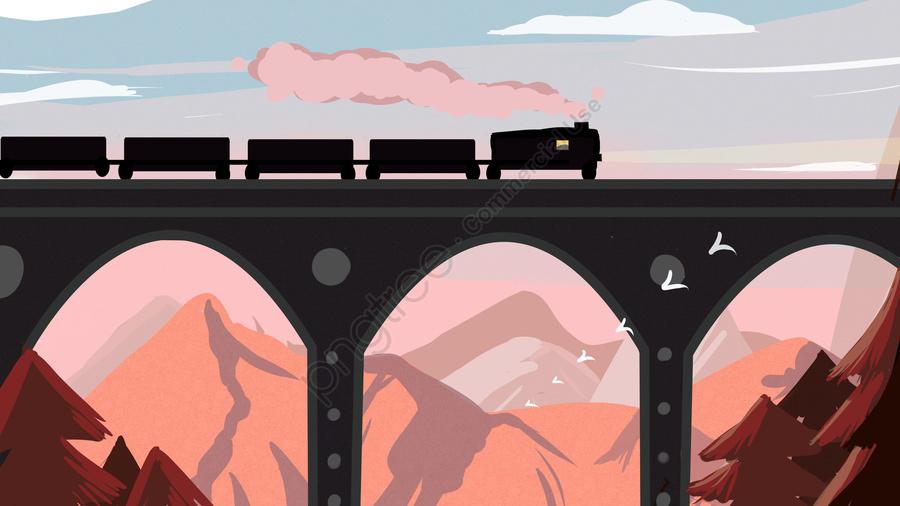 관광 도로 기차 원래 그림, 여행, 기차, 신선한 llustration image
