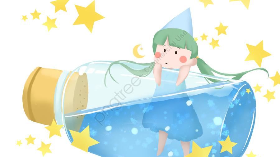12 Constellations Aquarius Cute Beautiful Cartoon Small Fresh Illustration, Twelve Constellations, Aquarius, Lovely llustration image