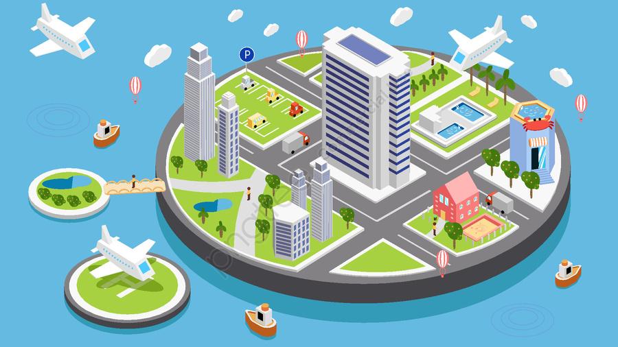 सरल व्यापार शैली सूक्ष्म दृश्य 2 5 डी शहर जीवन वेक्टर चित्रण, शहर का जीवन, शहर, विमान llustration image