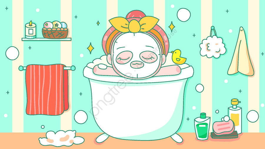Girl Skin Care Mask Bath World Beauty Day Vector Illustration, Vector, Skin Care, Apply Mask llustration image