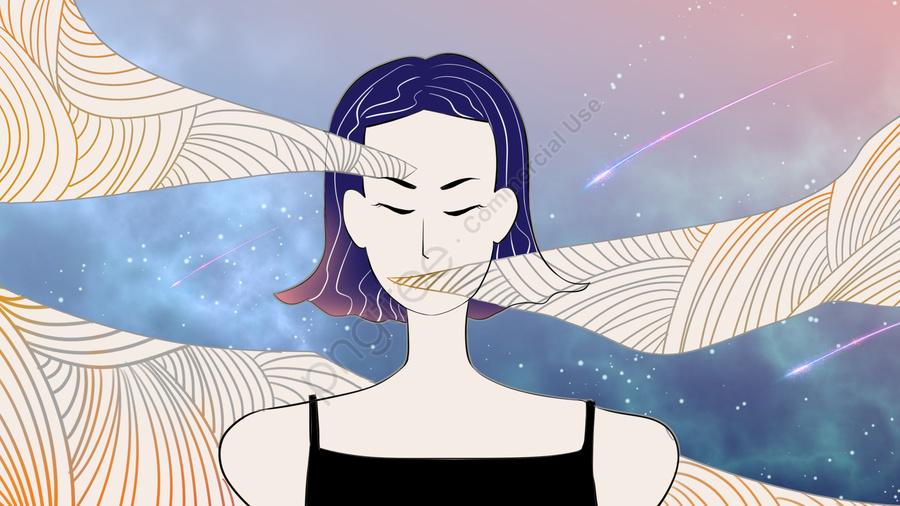 12 Constellations Virgo Sex Cold Emotions Melancholy Dreamy Starry Sky, Wallpaper, Girl, Mobile Phone llustration image
