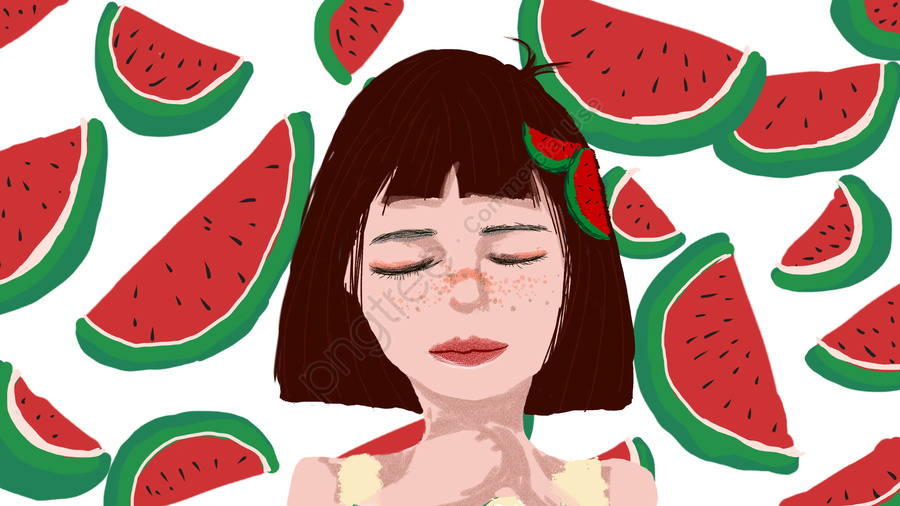 Simple and fresh summer watermelon little girl hello good morning illustration, Watermelon, Girl, Small Fresh llustration image