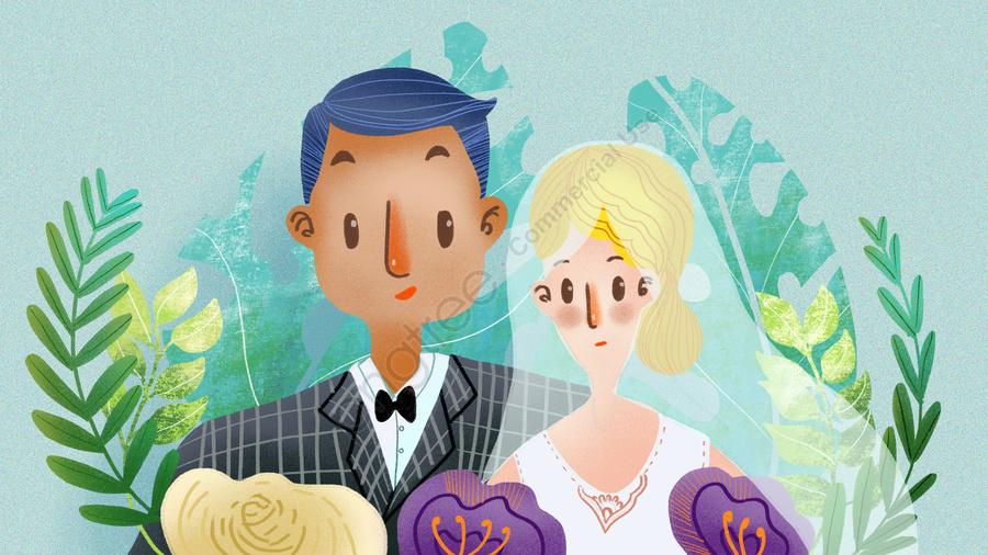 Wedding Invitation Couple Cute Business Illustration, Wedding, Couple, Invitation Card llustration image