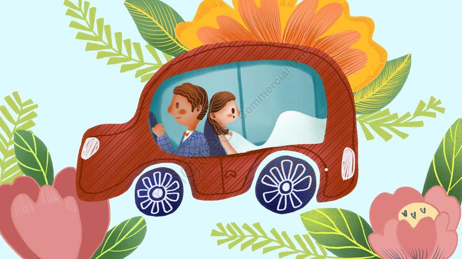 Wedding Invitation Married Couple Cute Business Illustration, Wedding Invitation, Wedding, Marry llustration image