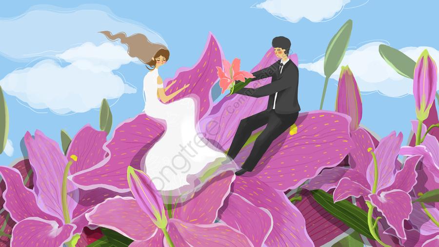 ロマンチックな結婚式の季節ピンクカップル百年良い, 結婚式, ロマンチックな, ピンク llustration image