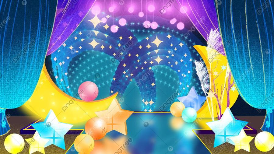ブルーのウェディングシーズンのおとぎ話の世界のテーマウェディングステージエリアイラスト, 結婚式の季節, 結婚式, おとぎ話の世界のテーマ llustration image