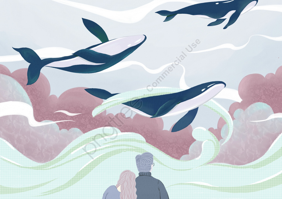 Simple And Fresh Cure For Deep Sea Whale Illustration, Whale, Ocean, Love llustration image