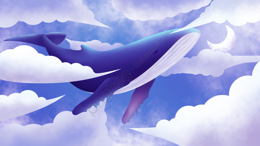 Dreamy air whale illustration, Whale, White Clouds, Dream llustration image