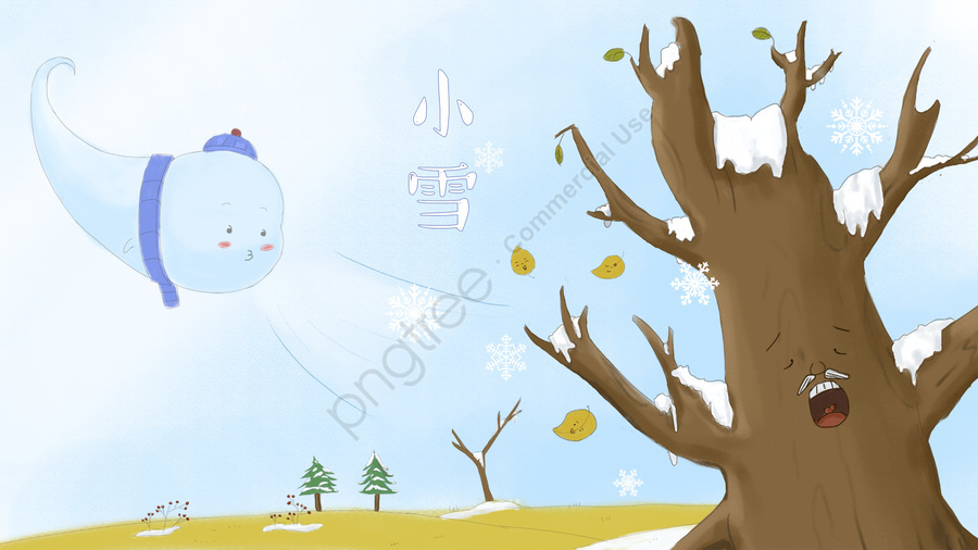 The Wind Blows Snowflakes And Big Tree Falls Asleep, Winter, Early Winter, Big Tree llustration image