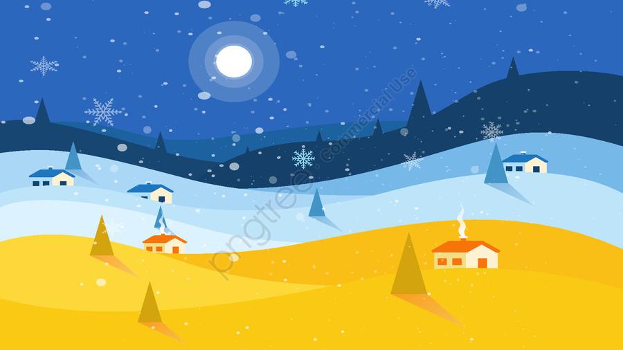 Original Vector Winter Night Snow Illustration, Winter, Night, Snow Drift llustration image
