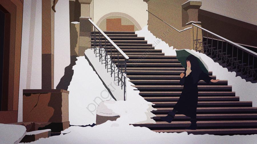 겨울 풍경을 산책하는 우산을 가진 어린 소녀, 겨울, 리 동, 눈 llustration image