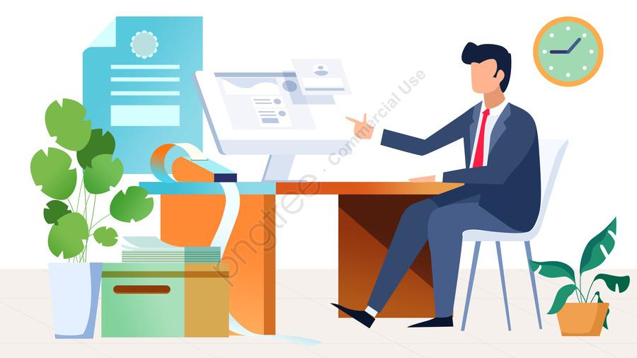 Người Làm Việc Trong Văn Phòng, Người Làm Việc, Văn Phòng, Làm Phẳng llustration image