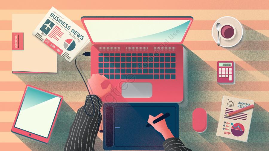 職場辦公之設計師工作場景, 職場辦公, 午後職場, 辦公桌 llustration image
