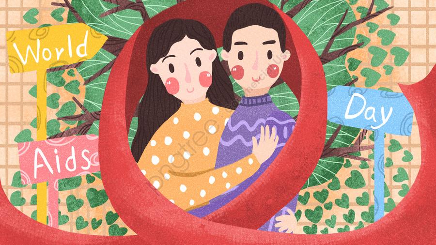 세계 에이즈의 날 남자와 여자 포옹 Love Tree Red Ribbon, 세계 에이즈의 날, 사랑, 포옹 llustration image