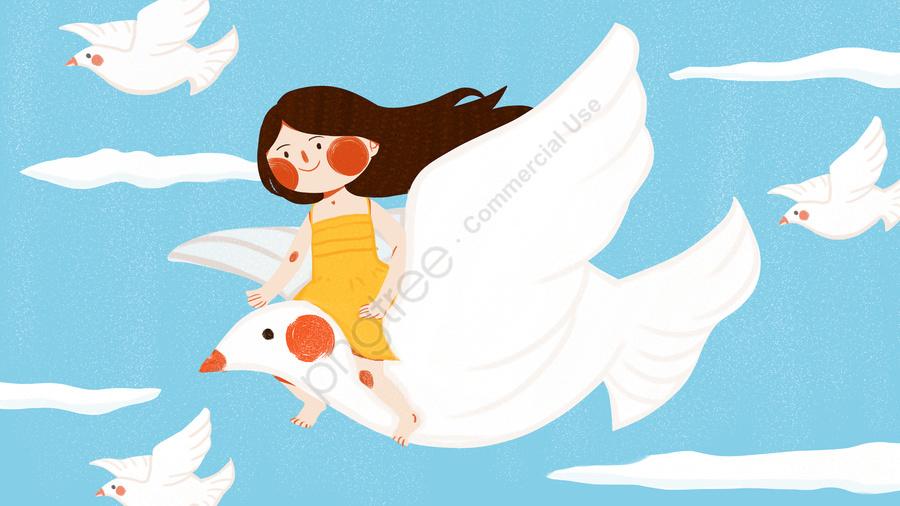 世界平和の日の女の子平和鳩かわいいフラットオリジナルイラスト, 世界, 平和, 祭り llustration image