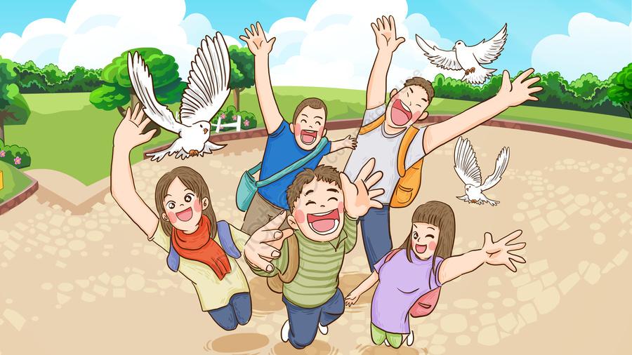 World University Student Day Students Flying Peace Dove Hand Painted Original Illustration, World University Day, College Students, Young People llustration image