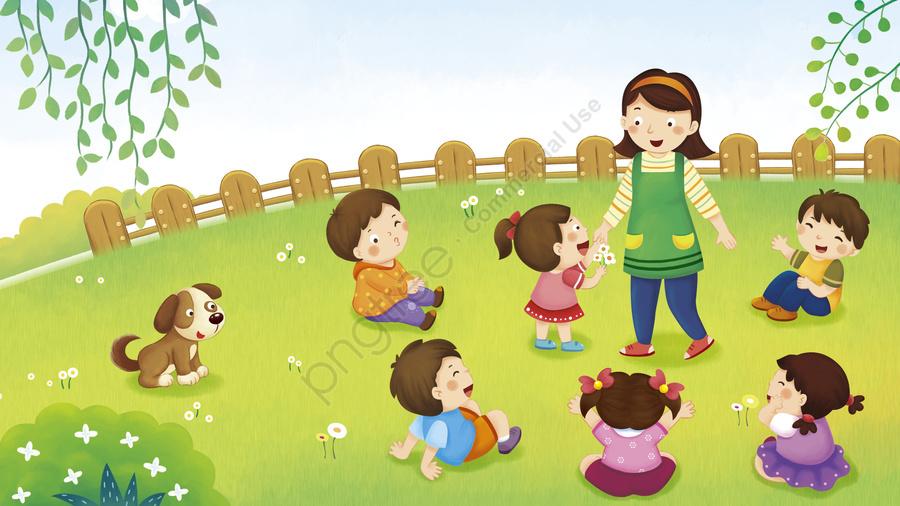 お祝い先生の日に先生の花かわいい子供たちのイラスト, 幼児, かわいい子, 幼稚園 llustration image