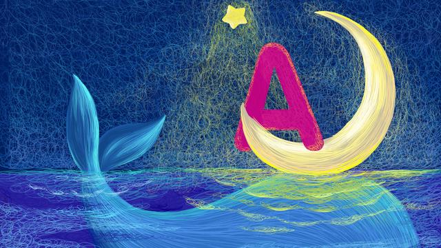 邂逅 letter a coil draw dolphins cure starry moon stars, 邂逅 Letter, A, Coil illustration image