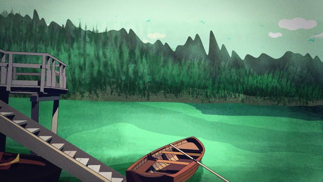 good morning november the boat in lake is cured by boat llustration image