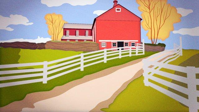 11月十一月草原大牧場度假別墅治愈旅遊 插畫素材
