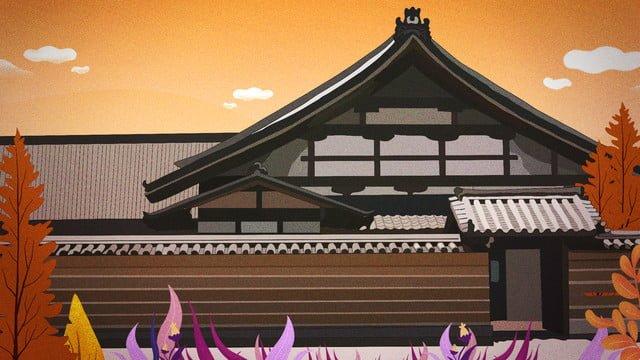 11 월 고대 건물 늦가을 풍경 저녁 삽화 소재 삽화 이미지