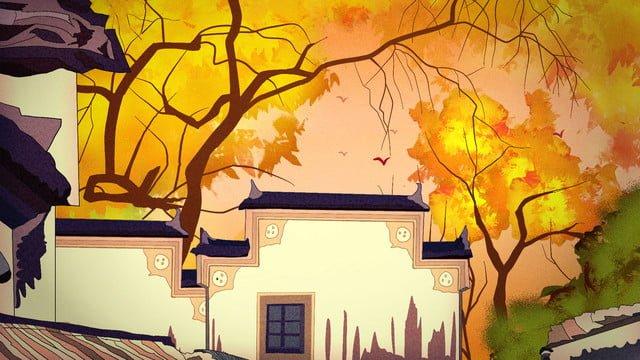 11 월 혜주 건축 고대 가을과 가을 삽화 소재 삽화 이미지