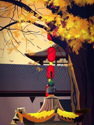 十一月你好寺廟秋天風光黃昏落日 插畫素材