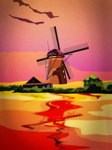 11 월 안녕하세요 네덜란드 풍차 자연 저녁 풍경 삽화 소재