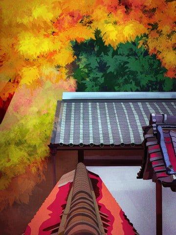 11月、こんにちは、古代の中庭は秋に落ち、美しい葉 イラスト素材 イラスト画像