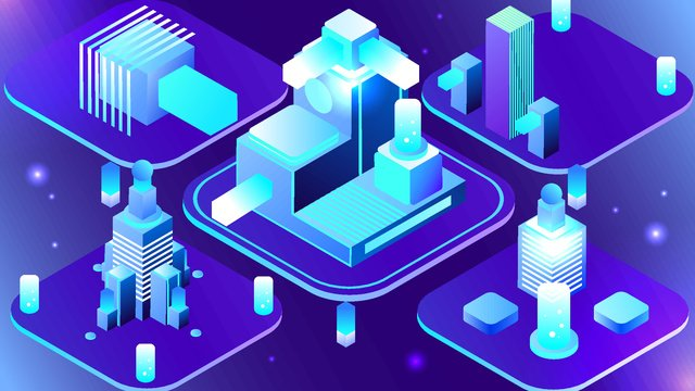 25d semi stereo blue purple technology future virtual concept vector with map llustration image illustration image